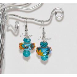 Boucles d'oreille bleues perles de verre et pierre de Gemmes