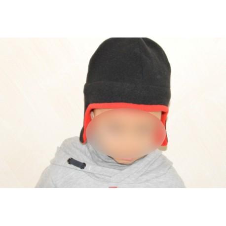 Bonnet chapka rouge et noir pour enfant