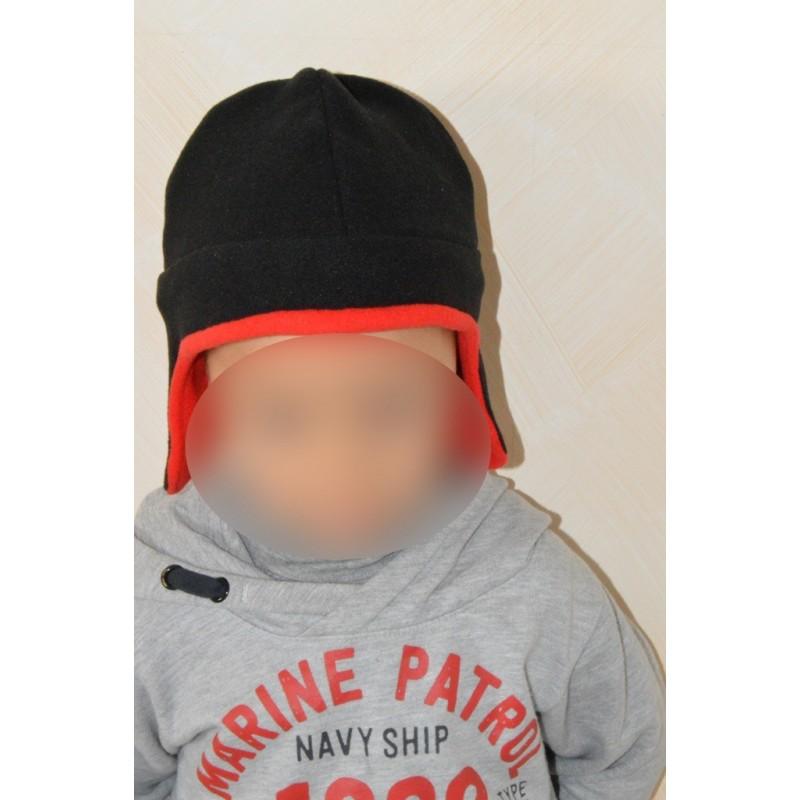 c5d60b5be858 Bonnet chapka rouge et noir pour enfant - Nessygan