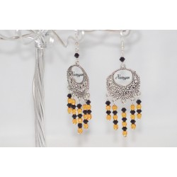 "Boucles d'oreille ""Gold and Black ""perles de cristal Swarovki & de verre"