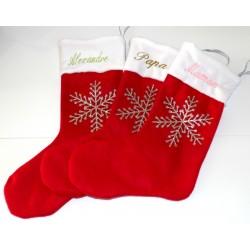 Botte de Noël feutrine rouge personnalisée avec une étoile