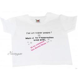 """Tee-shirt personnalisé enfant """" Super papa .."""""""