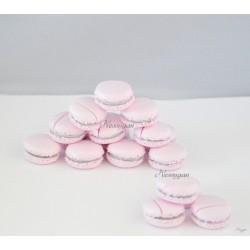 Marque-place macaron rose poudré et gris