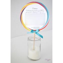 Faire-part sucette lollipop rainbow baptême, mariage