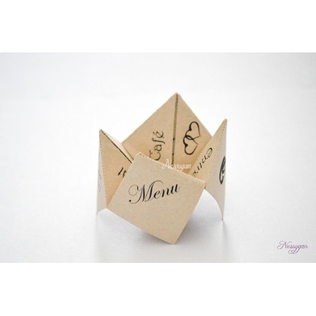 Menu cocotte en papier pour un mariage, baptême