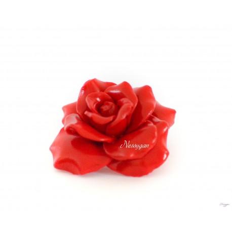 Broche Fleur Rose Rouge Nessygan