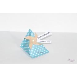 Boîte dragées berlingot bleue avec moulin àvent