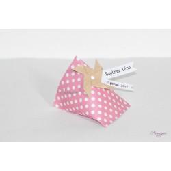 Boîte dragées berlingot rose pois avec moulin à vent