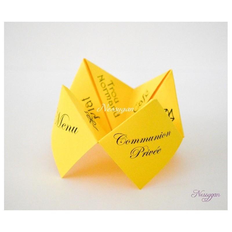 Favori Menu cocotte jaune en papier pour un mariage, baptême OY64