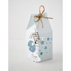 Boîte pour dragées bleue étoiles et moulin à vent