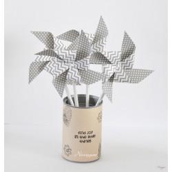 Moulin à vent chevrons gris et blanc