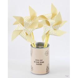 Moulin à vent chevron jaune et blanc