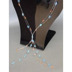 """Collier perles toupies Swarovski """"fire Opal"""" et facette aquamarine"""