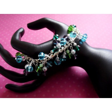 Bracelet perles de verres et perles cristal Swarovski multicolores