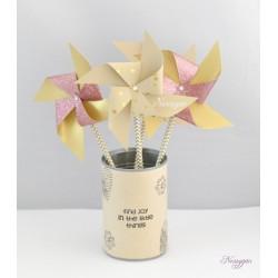 Moulin à vent étoiles dorées et pailletés rose x4
