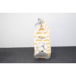 Boîte à dragées moustache grise et jaune