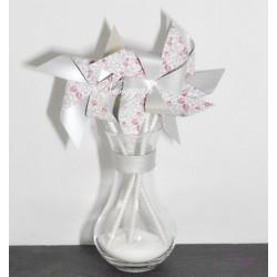 Moulin à vent liberty rose & argenté x4