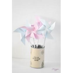 Moulins à vent bleu & rose x4