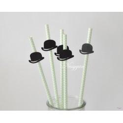 Pailles x6 chevrons vert d'eau et chapeau melon