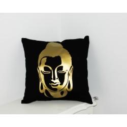 Coussin Bouddha noir & or déco zen