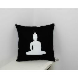 Coussin noir & blanc silhouette Bouddha