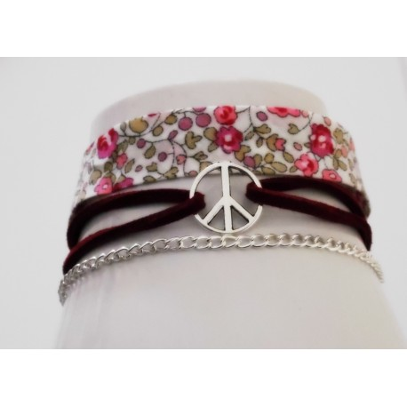 "Bracelet biais Liberty Eloise rose""Peace and love"""