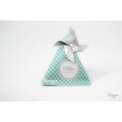 Boîte dragées berlingot bleu pois blanc & moulin à vent argenté