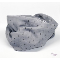 Snood double tour gris & ancre marine