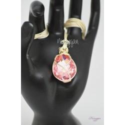 Collier cabochon en cristal Swarovski rose
