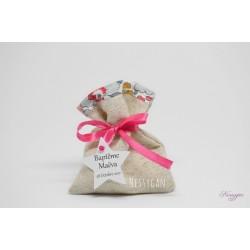 Pochon pour dragées lin naturel et Liberty Betsy porcelaine