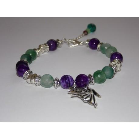 Bracelet Bohème Fairy pierres de Gemmes violettes et vertes