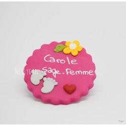 """Badge """"Petits petons"""" pour infirmière, aide-soignante, sage-femme"""