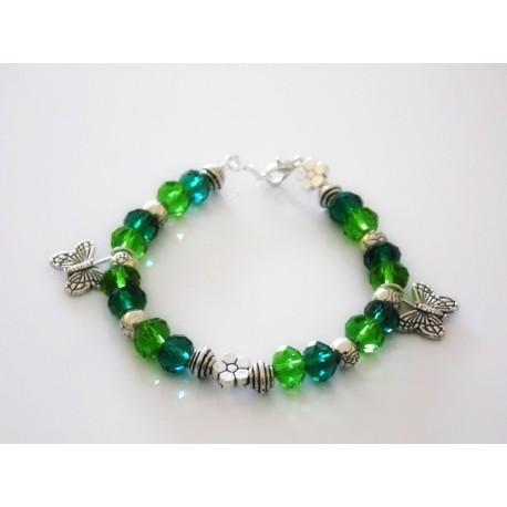 Bracelet papillon et perles de verre turquoises / vertes