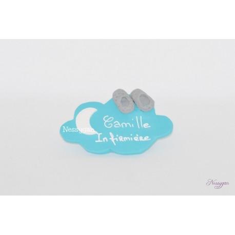 Badge nuage personnalisé pour infirmière, aide-soignante, sage-femme