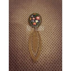 Marque-page fleurs et strass Swarovski