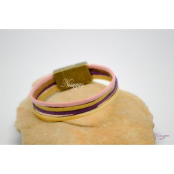 Bracelet cuir or et suédine rose pailleté