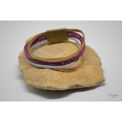 Bracelet cuir or et fuschia - suédine argent pailleté