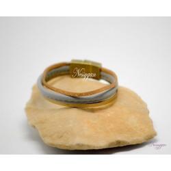 Bracelet cuir gris et or - suédine bronze pailleté