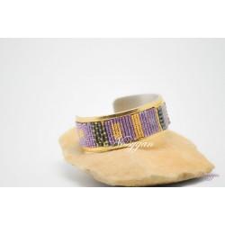 Bracelet manchette avec perles en or galvanisé