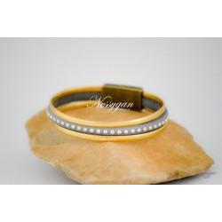 Bracelet cuir or & strass Swarovski