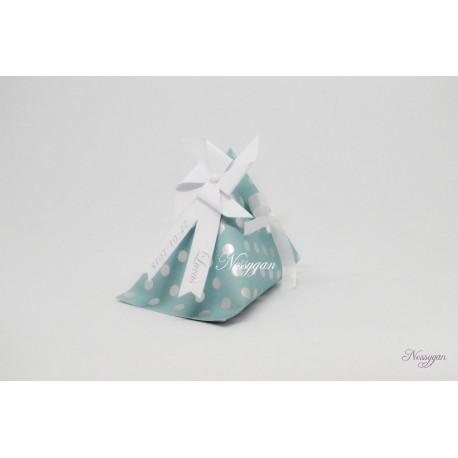 Boîte dragées berlingot moulin à vent bleu et pois argenté
