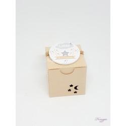 """Boîte pour dragées kraft badge magnet """" lune et étoiles"""""""
