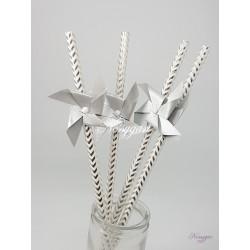 Pailles x6 moulin à vent argenté