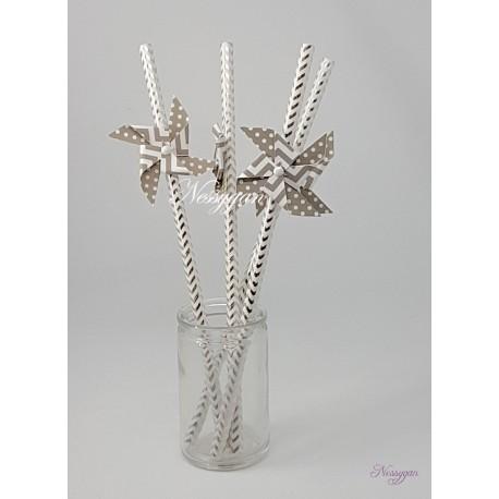Pailles x6 moulin à vent gris chevron et pois