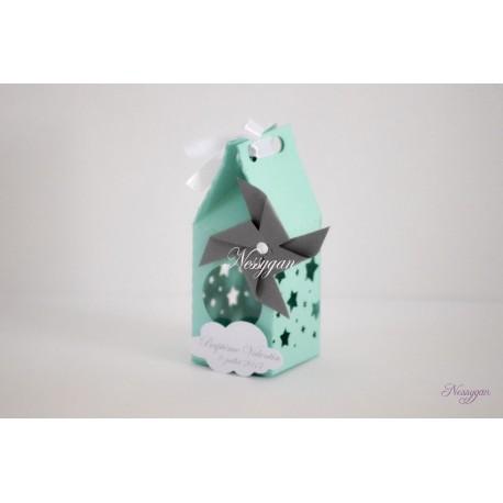 Boîte pour dragées vert d'eau étoiles et moulin à vent