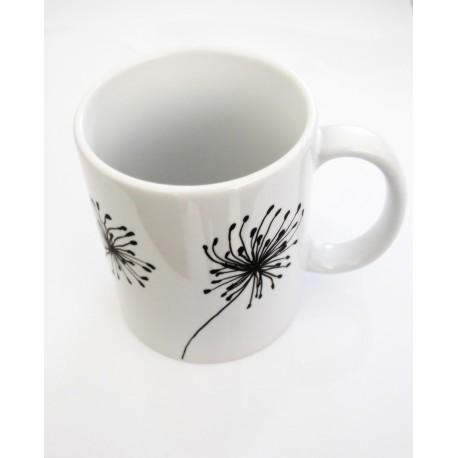 """Mug noir et blanc en céramique """"Dandelion"""""""