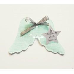 Ballotin ailes d'ange pour dragées lin vert d'eau