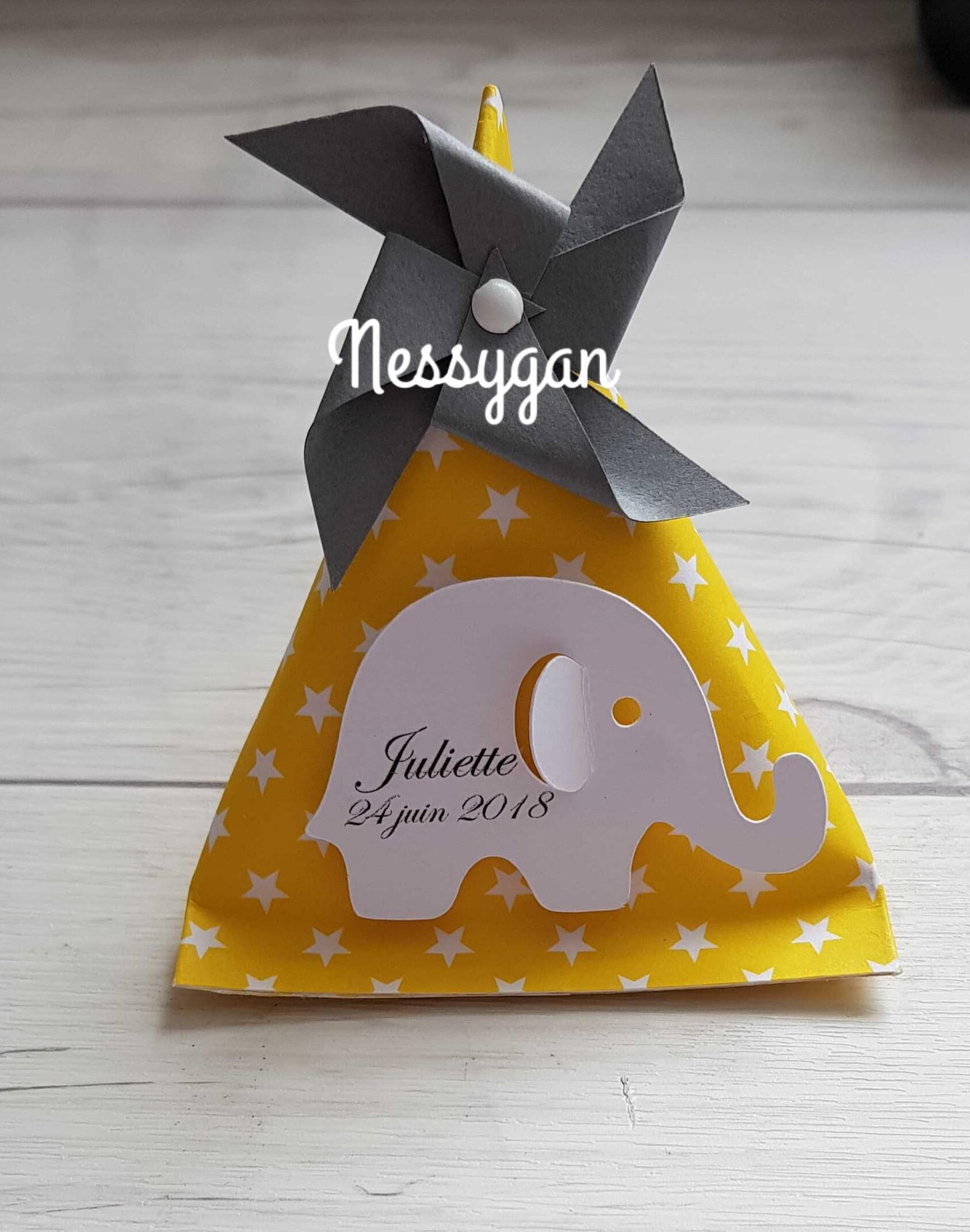 864032eb8e1c Boîte dragées berlingot jaune et étoiles blanches avec éléphant