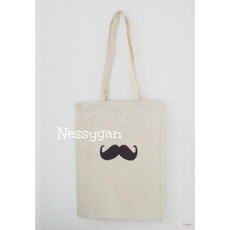 Sac de bibliothèque Moustache personnalisé par un prénom