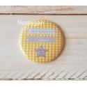 """Magnet thème étoile jaune et gris """" Mon baptême"""""""